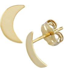flat cresent moon stud earrings in 14k gold