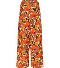 dodo bar or gigi autumn flowers trousers - white