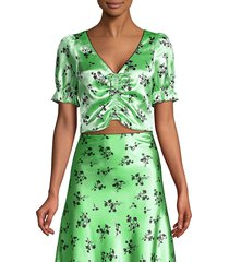 likely women's mona floral cropped blouse - pistachio black - size 8