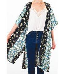 kimono negro flores azules multicolor guinda