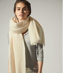 reiss aimee - oversized textured scarf in cream, womens