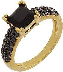 anel narcizza solitário com zircônia onix banhado no ouro