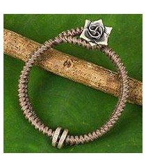 silver flower bracelet, 'smokey rose' (thailand)