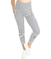 women's angel maternity tapered casual maternity pants, size small - blue