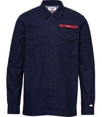 tjm velcro overshirt overshirt blauw tommy jeans
