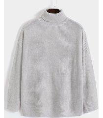 hombres invierno cálido casual beige manga larga alto cuello suéter de punto
