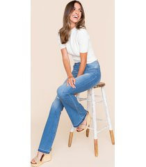 women's simone high rise flare jeans in denim by francesca's - size: 9