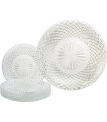 conjunto de pratos euro diamond de vidro com 7 peças