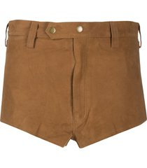 mes demoiselles chilli mid-rise suede shorts - brown