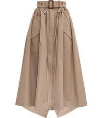 alexander mcqueen beige cotton skirt with belt