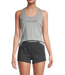 calvin klein women's 2-piece heathered logo tank top & shorts set - grey heather - size xl