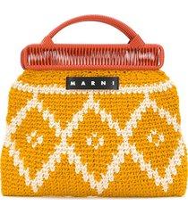 marni market knit logo tote bag - yellow