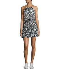 lotus floral-print silk halter dress
