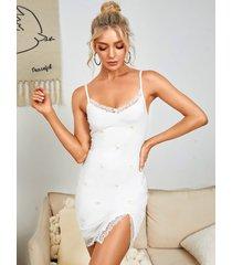 yoins espagueti bordado sin espalda diseño de encaje ribete de hendidura mini vestido