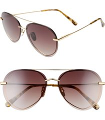 women's diff lenox 61mm round flat front aviator sunglasses - gold/ brown