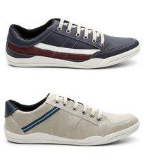kit 2 pares sapatênis masculino tênis estilo casual conforto azul e rato 44