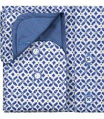 sleeve7 heren overhemd blauw print poplin