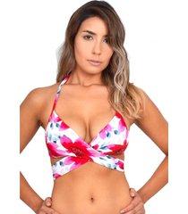 bikini estilo sostén cruzado estampado rojo samia