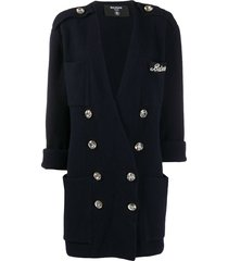 balmain crystal-button double-breasted jacket - blue