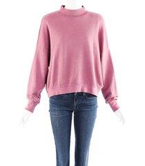 nsf clothing pink cotton mock neck sweatshirt pink/purple sz: m