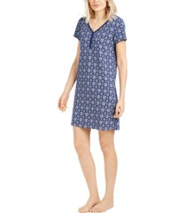 charter club cotton printed sleepshirt nightgown, created for macy's