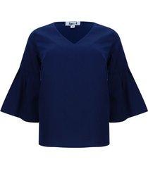 blusa unicolor manga campana color azul, talla 8