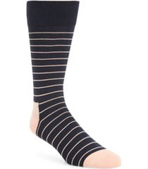 men's nordstrom men's shop ultra soft stripe socks, size one size - blue