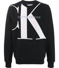 calvin klein jeans logo print crew neck sweatshirt - black