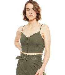 crop top wados s/m solid verde - calce ajustado