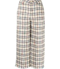 etro check pattern tweed trousers - neutrals