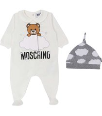 moschino white romper set with frontal toy press