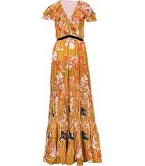golden blossom maxi dress