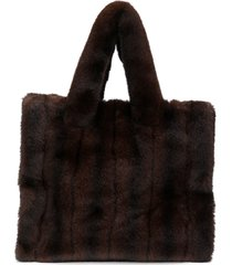 stand studio faux fur tote - brown