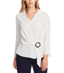 vince camuto ditsy fragments belted blouse