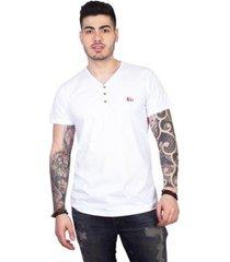 camiseta 4 ás gola v com botões masculina - masculino