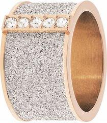 anello big in acciaio rosé, lurex silver e cristalli per donna