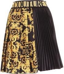 versace jeans couture branded elastic skirt in black