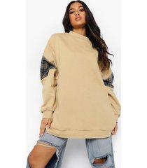 petite oversized sweater met geruit paneel, sand