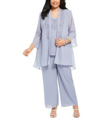 r & m richards plus size embellished blouse, jacket & pants