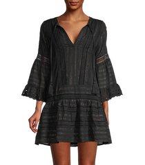 metallic striped lace tunic dress