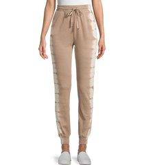allison new york women's tie-dyed cotton jogger pants - mocha - size l