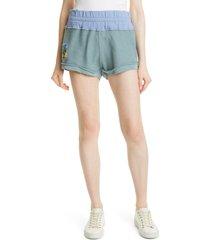 women's loveshackfancy anthea knit shorts, size large - blue
