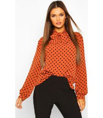 pussy bow polka dot high neck blouse, rust