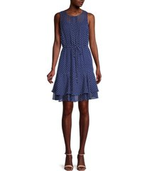 tommy hilfiger women's dot-print ruffle-tier dress - twilight combo - size 10
