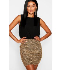 2 in 1 chiffon top sequin skirt bodycon dress, black