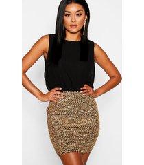2 in 1 chiffon top sequin skirt bodycon dress, black