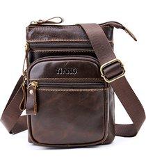 vera pelle multi-funzionale telefono da 6 pollici borsa vita borsa tracolla borsa per gli uomini