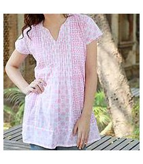 cotton blouse, 'rose harmony' (india)