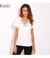 zanzea 2018 de primavera y verano de las mujeres flojas ocasionales de la manga corta con cuello en v de encaje de flores negro cuello de la camisa remata la blusa más el tamaño 5xl blusa blanca -blanco