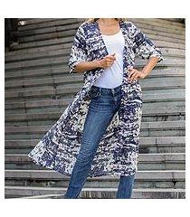 elbow-length sleeved rayon jacket, 'caribbean paradise' (indonesia)